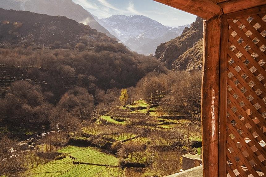 Balcony view towards Jbel Toubkal. Deluxe Room, Kasbah du Toubkal