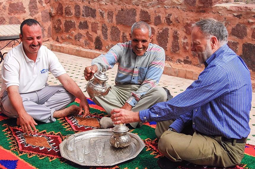 Taking tea on the terrace, Azzaden Trekking Lodge