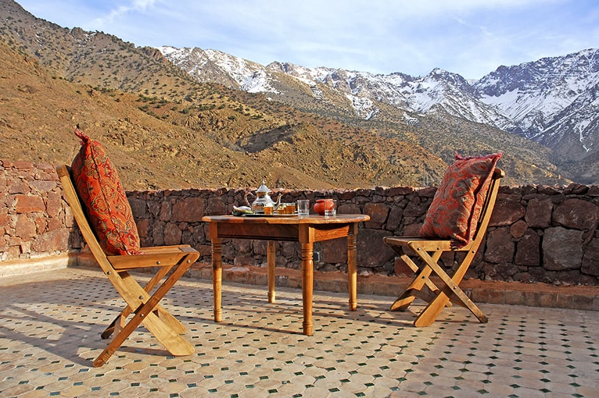 Taking in the views from the terrace, Azzaden Trekking Lodge