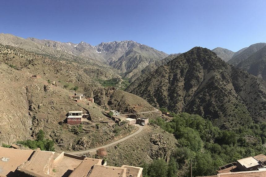 Looking towards the Toubkal Massif from Azzaden Trekking Lodge
