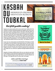The cover of the twenty-fourth edition of the Kasbah du Toubkal newsletter