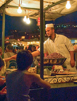 Photo of one of the many outdoor restauarants, Jemaa el Fna