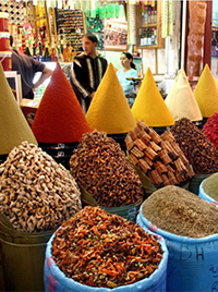 Spices piled up in a souk in Morocco
