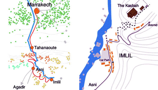 Maps: Marrakech to Imlil and Imlil to the Kasbah du Toubkal